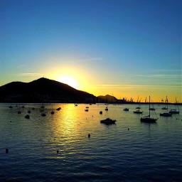 sunset emotion sky sea mountain nature blue