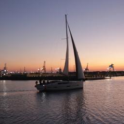 port boat sail sailboat sunset