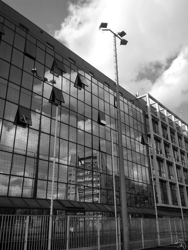 #blackandwhite #clouds #reflection #windows