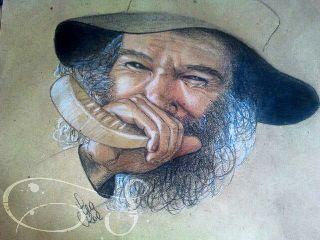 drawing pencil elder portrait smile