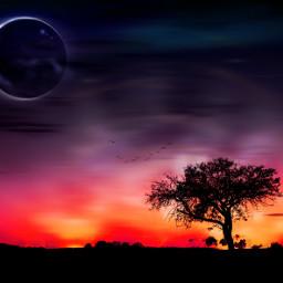 sunset colorful moon landscape dreamscape