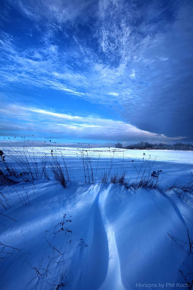 """""""Singing the Blues"""" - Horizons by Phil Koch.  #CrispEffect   #colorful  #winter #snow #light #outdoors #blue #white #nature #Frozen"""