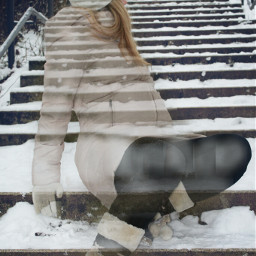 stairs winter people snow abstract