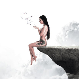 collage girl artistic fantasy white
