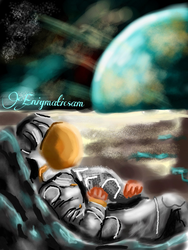 'The Astronaut' #WDPscifi  #contest  #drawing  #man  #space  #planets  #stars  #night  #black  #white  #green  #orange  #art  #people  #emotions  #sad  #light