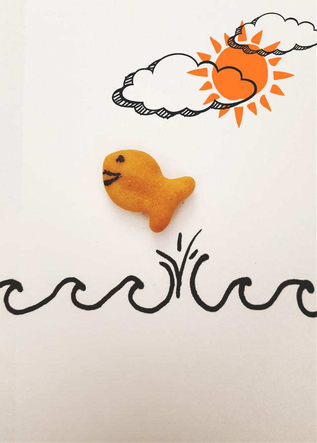 Livin' Free #playwithyourfood #stilllife  #happy #inspiration  #handwritten #goldfish #cute  #fooddrawings #food