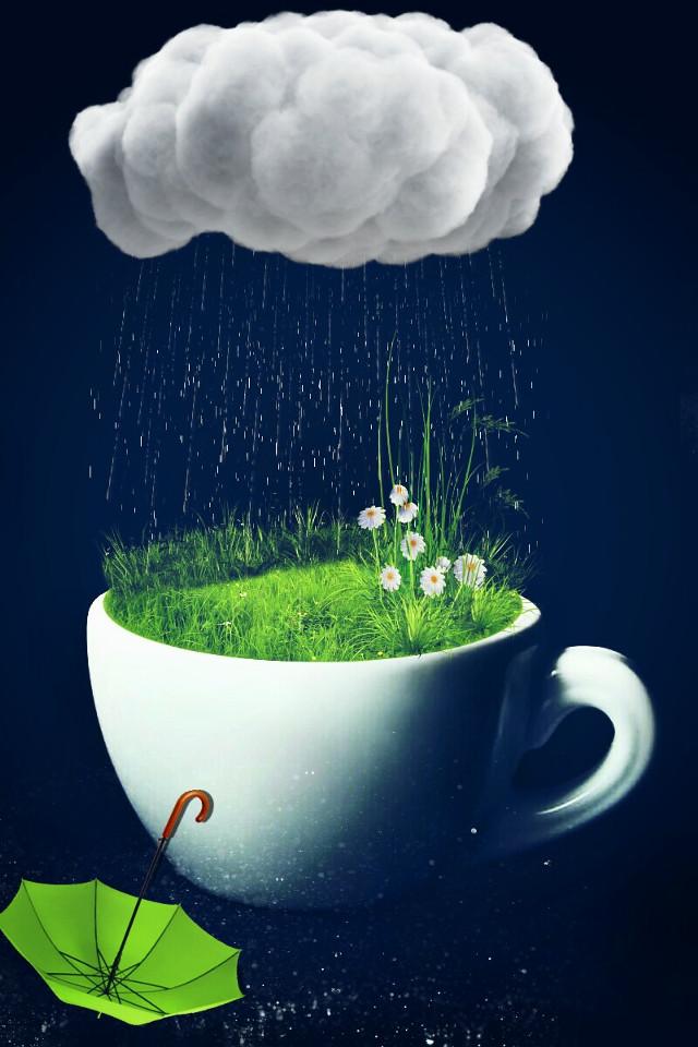 ...some people feel the rain and others just get wet.      #myart  #rain  #umbrella  #art  #creative  #madewithpicsart  #coffeecup
