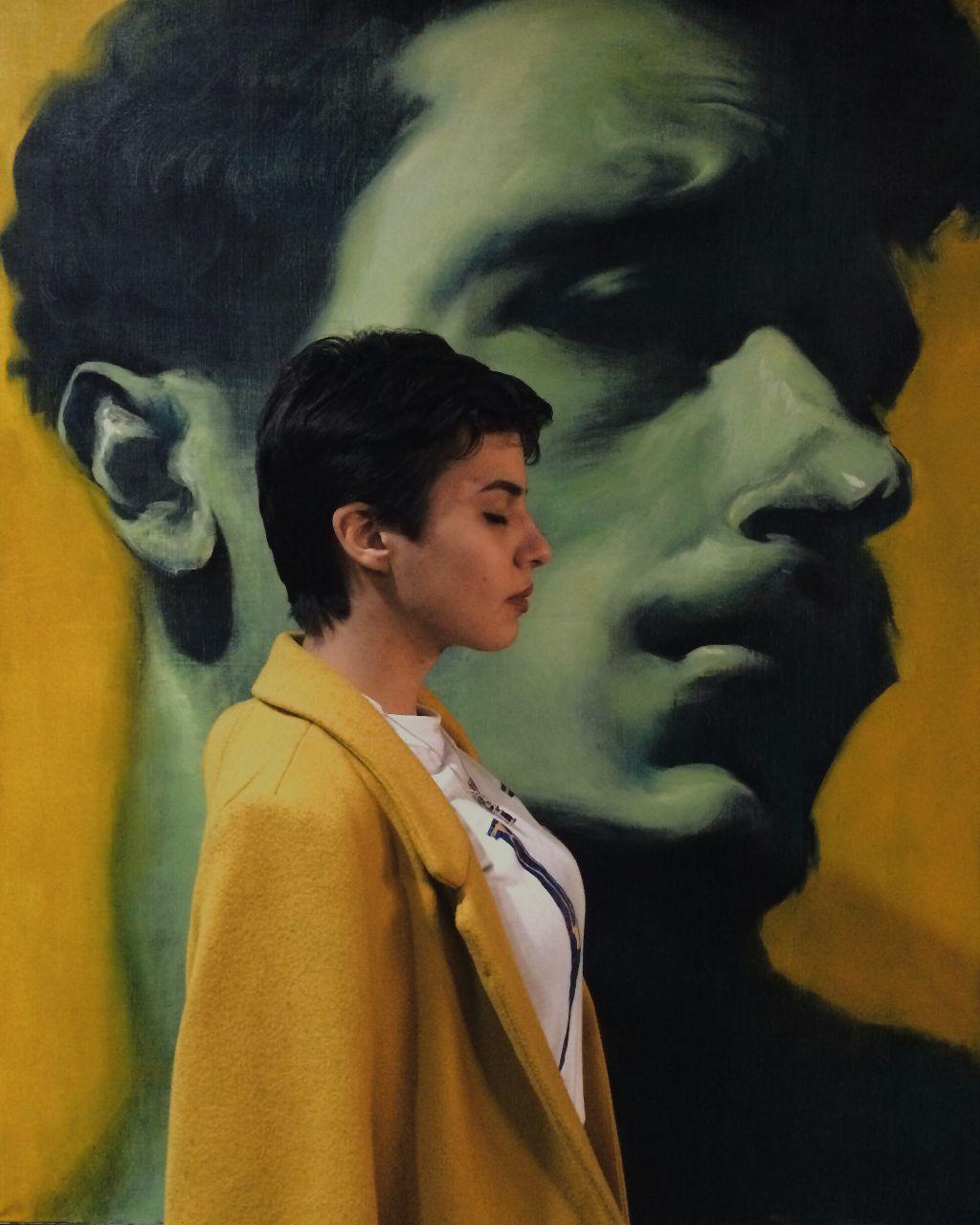 Amélie #girl #yellow #painting #green #portrait #art