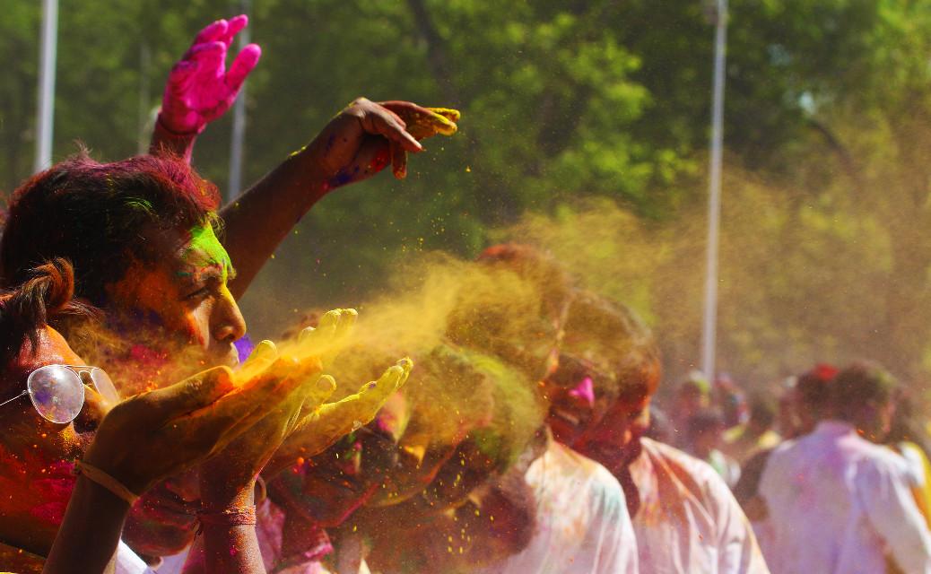 """Happy Holi..""   #Holi #colorsplash #colorful #photography #people #spring #love #pa #colourPowder #blog #powder"