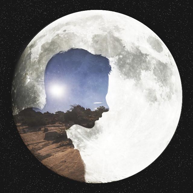Moonland. 🌕  #nature #me #doubleexposure #silhouette #artisticselfie #moon  op (background): unsplash.com/google.com
