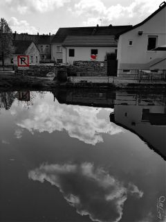 clouds blackandwhite colorsplash mirror reflection
