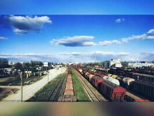 railway colorful sky spring