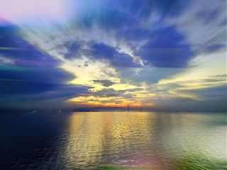 clouds colorful sea sunset