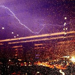 lightning rain lights city edirne