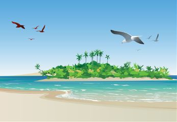 summer nature illustration beach travel