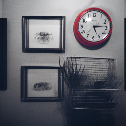 red clock pictures frame doubled