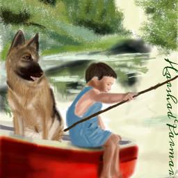 wdpvacation boat child dog fishing