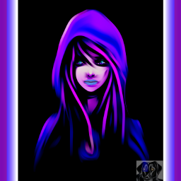 wdptwotone art abstract hooded girl dcfacialexpression