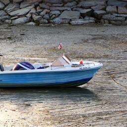 summer beach ocean lowtide boat
